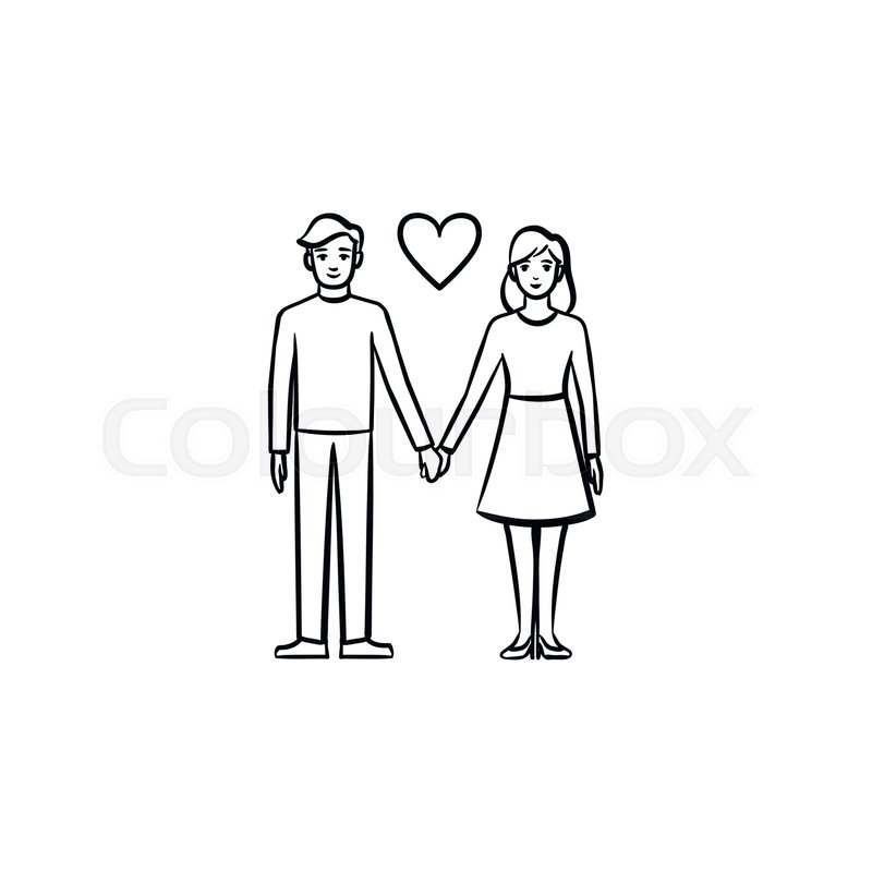 Couple In Love Hand Drawn Outline Stock Vector Colourbox