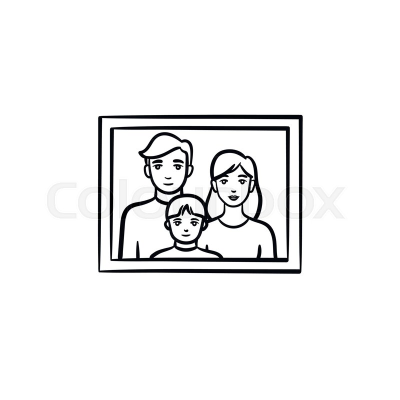 Family photo frame hand drawn outline doodle icon. Kid and parents ...