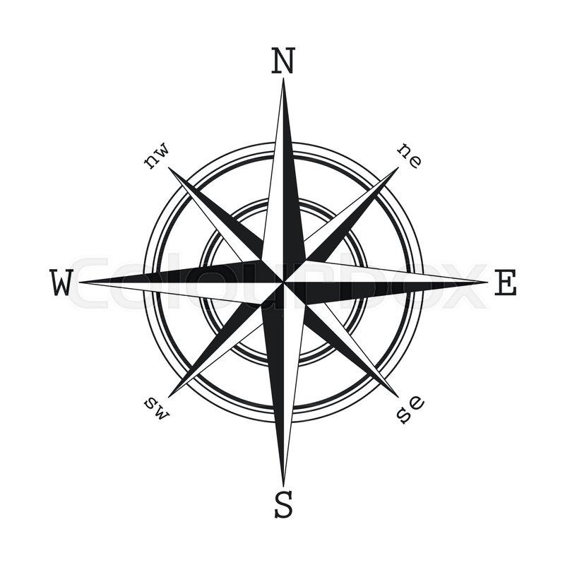 Illustration Of Compass Symbol Icon Silhouette Flat Black