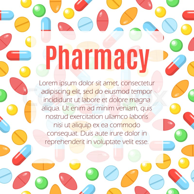 Pharmacy flat poster vector illustration with flat icons of colorful ...