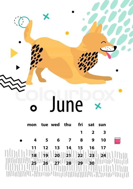 Calendar For June 2018 With Playful Foxterrier That Shows His Tongue