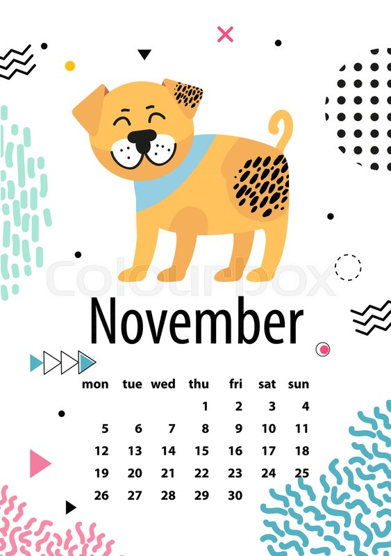 november page of calendar with happy dog surrounded by doodles on white background vector illustration with cute 2018 symbol due chinese calendar stock