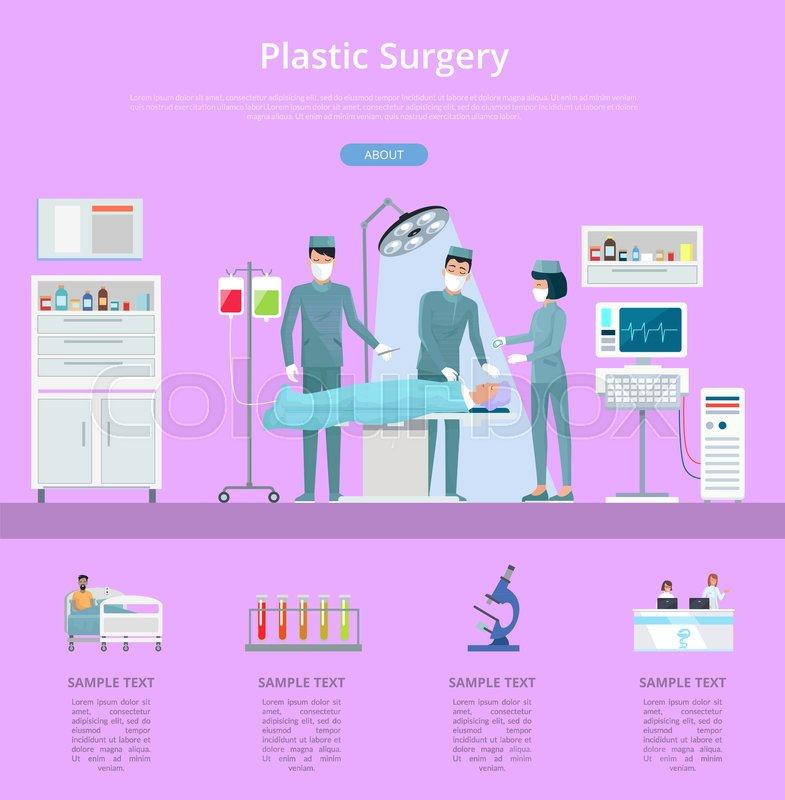Plastic surgery description with team     | Stock vector