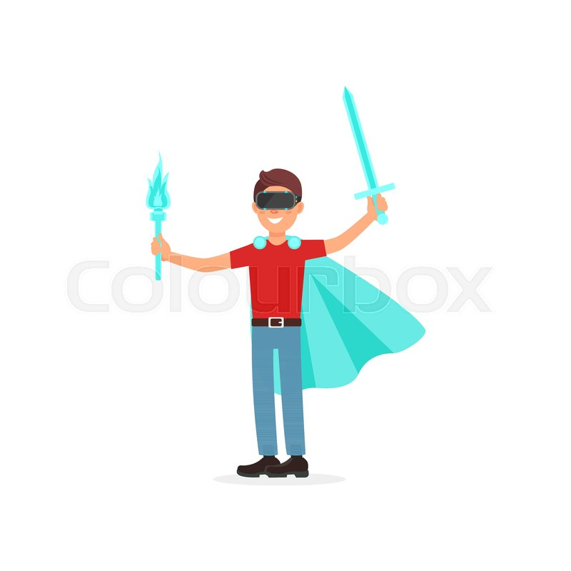 41a078a6fbc4 Young man in a cape with swords