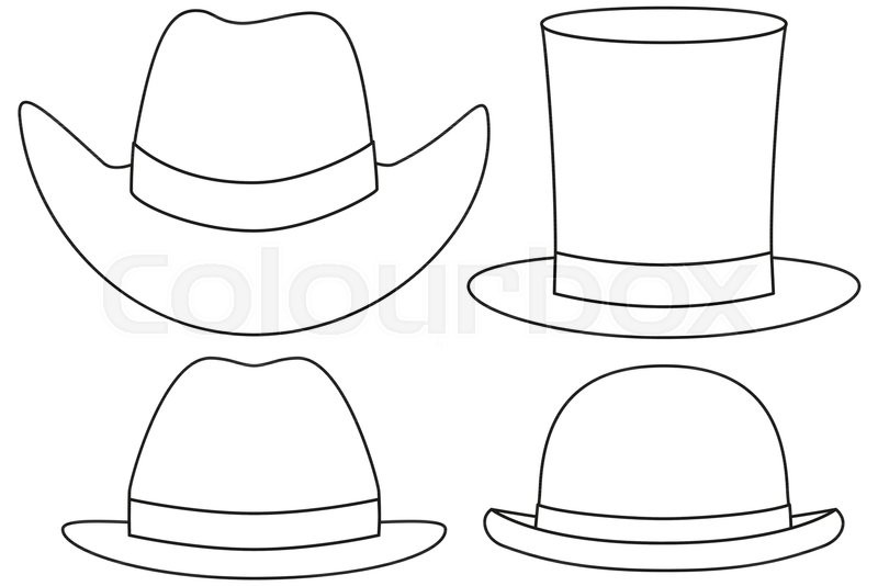 4aaad9b5739df Line art black and white hat set 4 ...