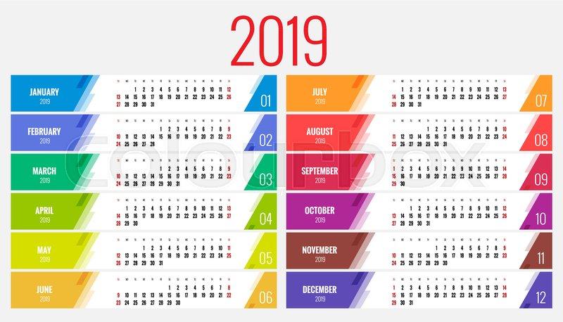 calendar planner for 2019 year  vector