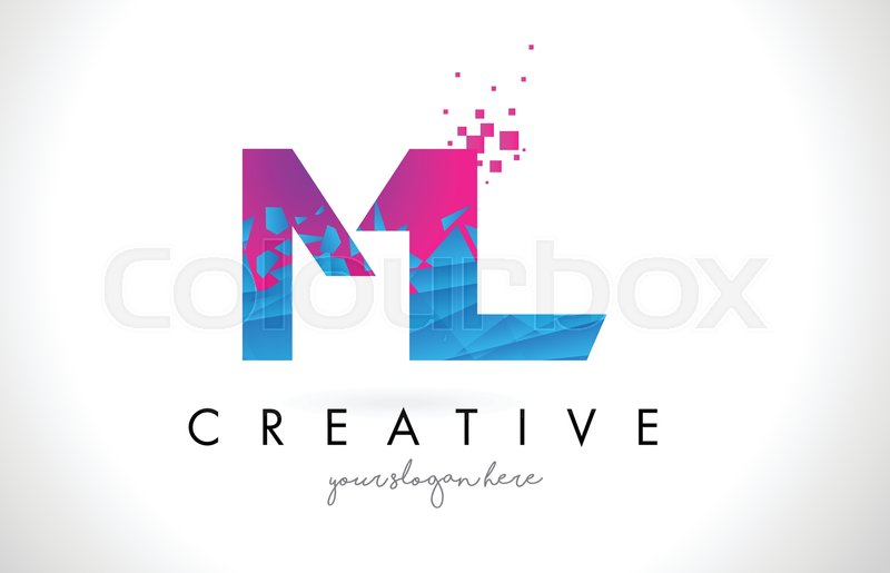 Ml M L Letter Logo With Broken Stock Vector Colourbox