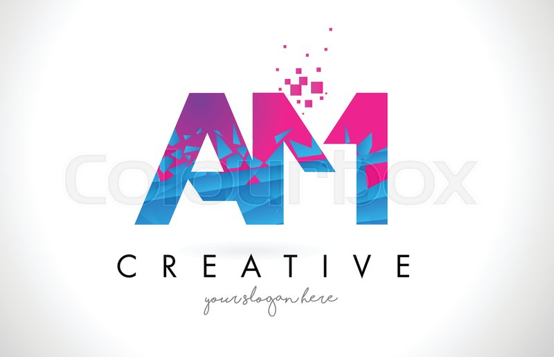 Am a m letter logo with broken shattered blue pink triangles texture am a m letter logo with broken shattered blue pink triangles texture design vector illustration vector thecheapjerseys Gallery