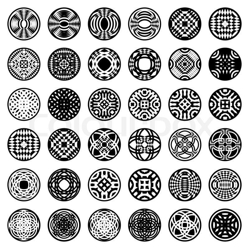 Worksheets Shape Design Patterns patterns in circle shape 36 design elements set 2 vector vector