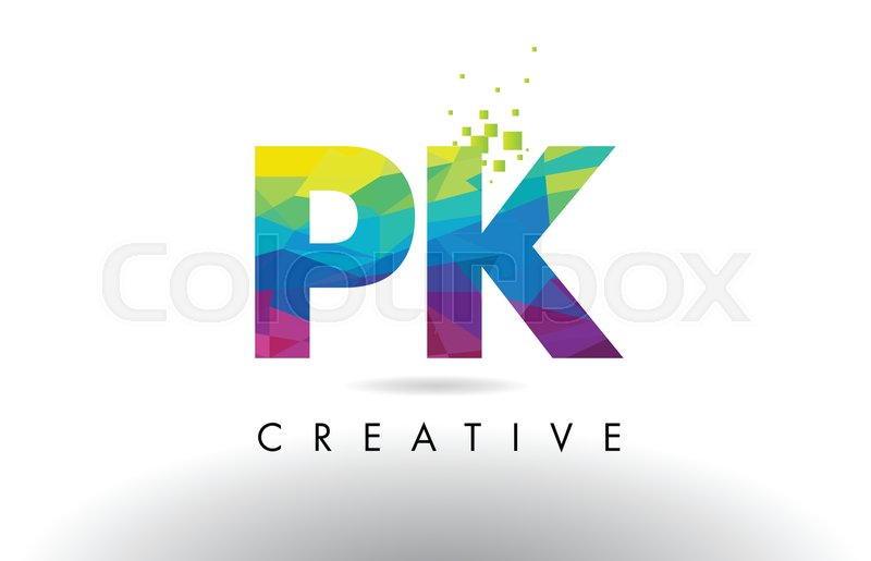 Pk P K Colorful Letter Design With Stock Vector