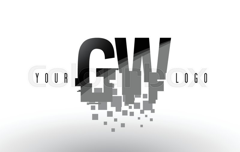 GW G W Pixel Letter Logo with Digital     | Stock vector