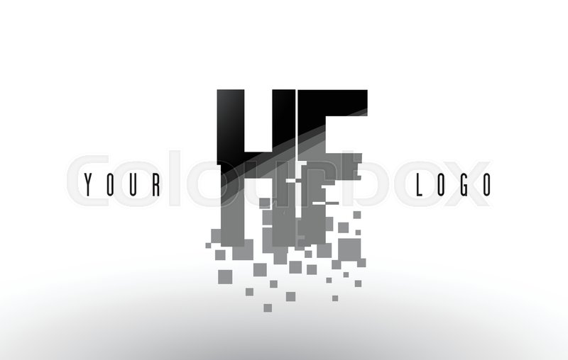 HF H F Pixel Letter Logo with Digital     | Stock vector