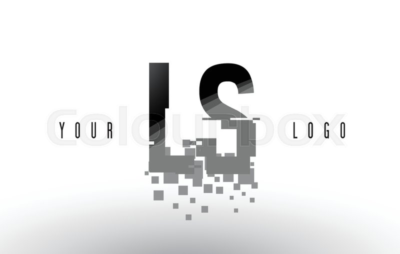 LS L S Pixel Letter Logo with Digital     | Stock vector