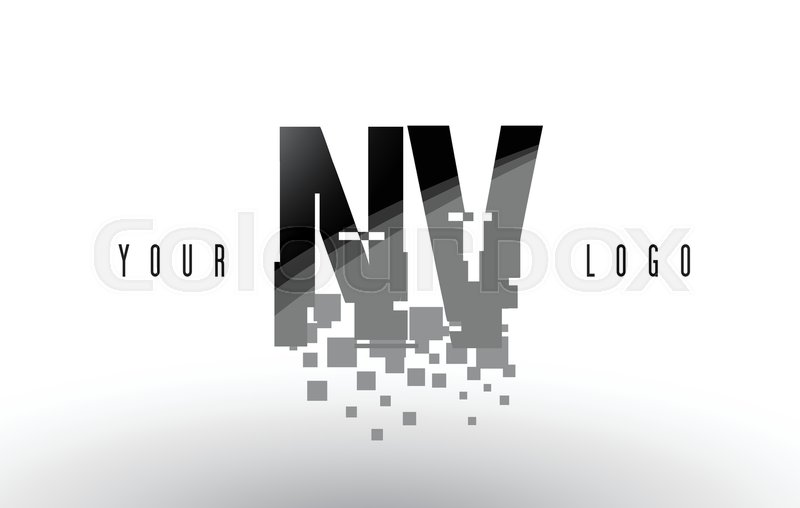 NV N V Pixel Letter Logo with Digital     | Stock vector