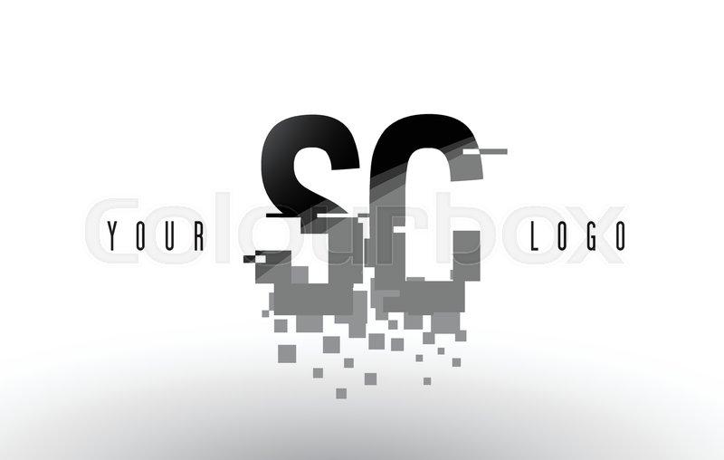 Sc S C Pixel Letter Logo With Digital Stock Vector