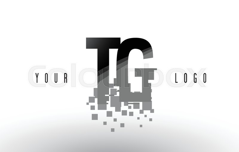 Tg T G Pixel Letter Logo With Digital Stock Vector