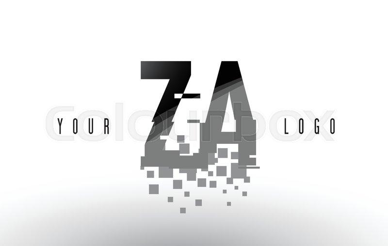 ZA Z A Pixel Letter Logo with Digital     | Stock vector