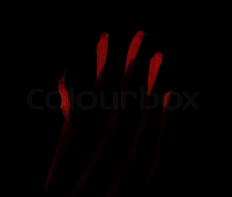 red blood prints on black background stock photo colourbox
