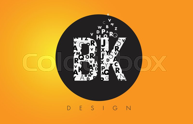 Bk B K Logo Design Made Of Small Stock Vector Colourbox