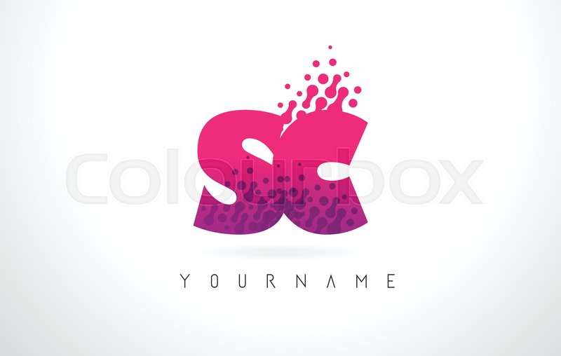 Sc S C Letter Logo With Pink Letters Stock Vector