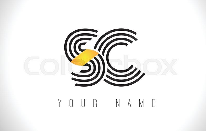 Sc Black Lines Letter Logo Creative Stock Vector