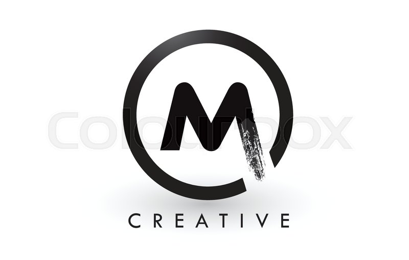 M Brush Letter Logo Design With Black Stock Vector