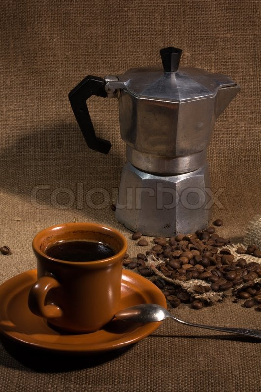 Still life with a coffeepot coarse fabric