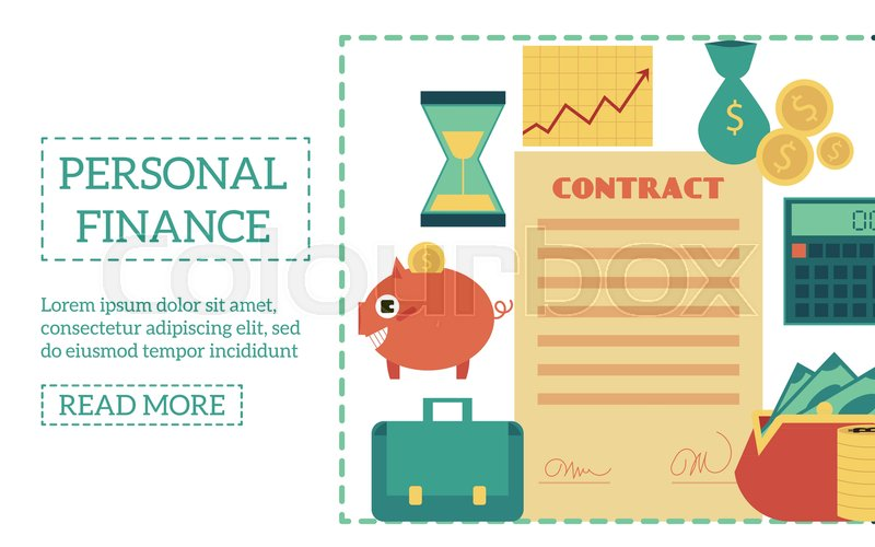 flat personal finance poster template with business banking objects
