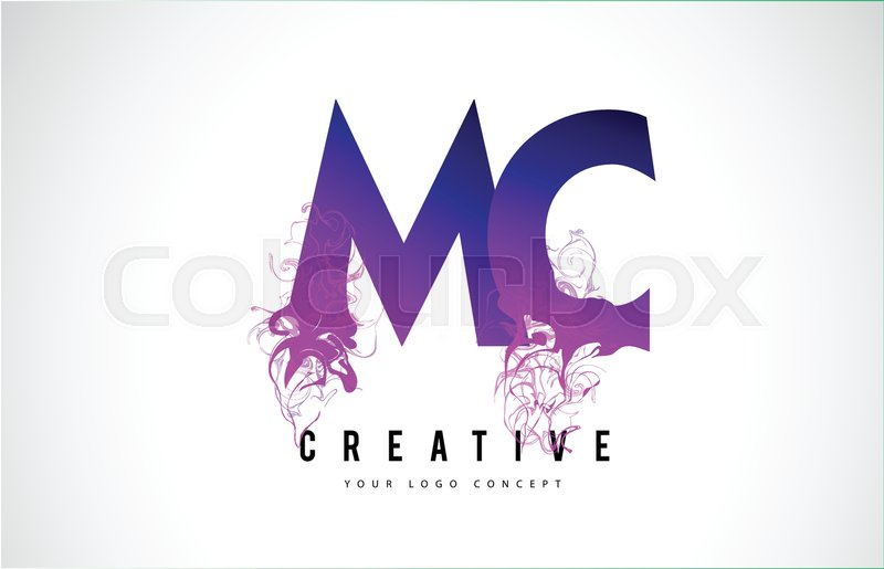 mc m c purple letter logo design with creative liquid effect flowing vector illustration stock vector colourbox