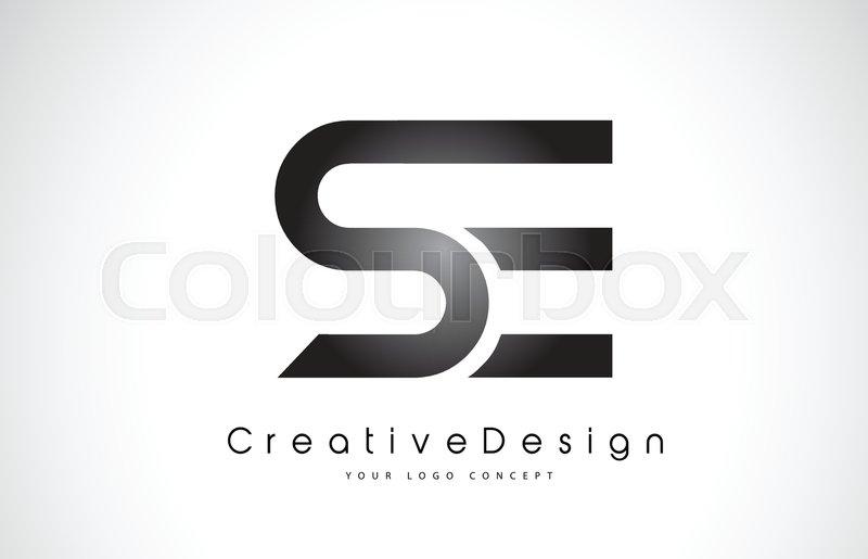 se s e letter logo design in black colors creative modern letters