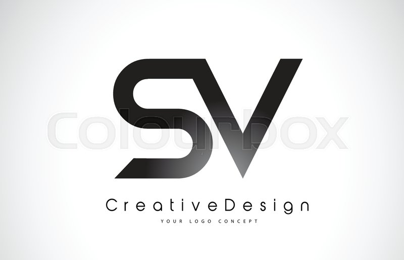 sv s v letter logo design in black colors creative modern letters