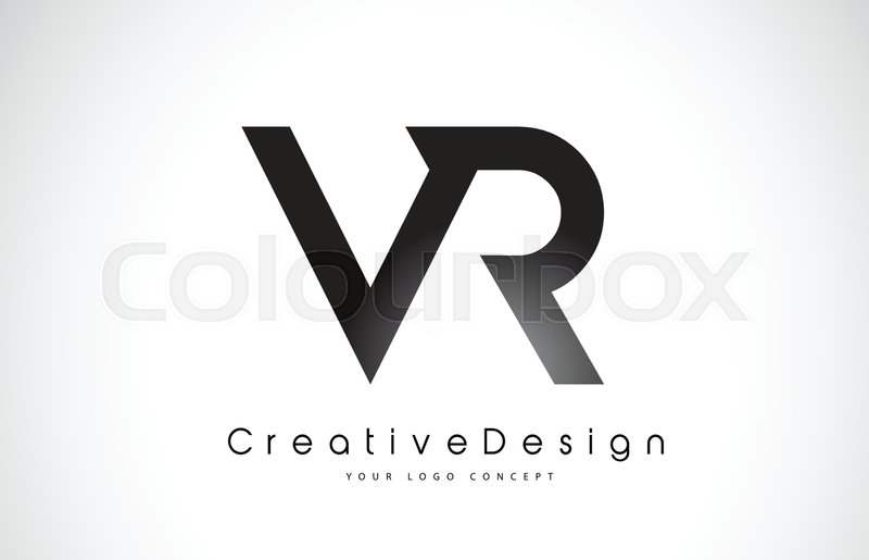 vr v r letter logo design in black colors creative modern letters
