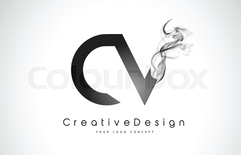 cv letter logo design with black