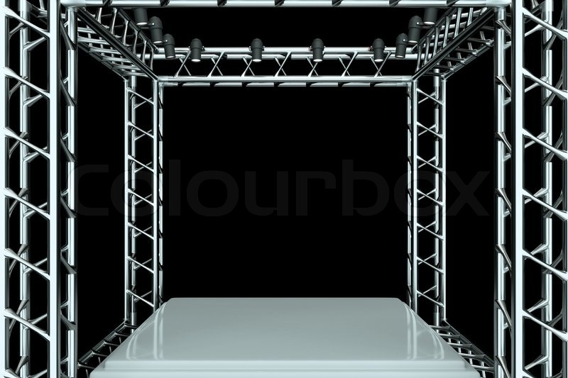 a center stage with metal frame put your object in the