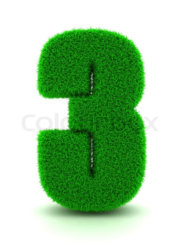 Number Plate Suppliers >> 3d Rendering of Grass Number 3 on White Isolated ...