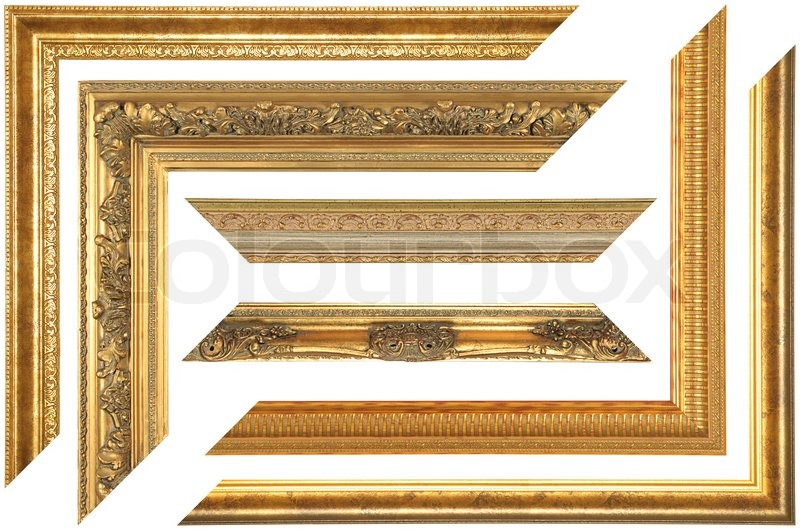 Set Of Elements Of Vintage Picture Frame On White Background Stock