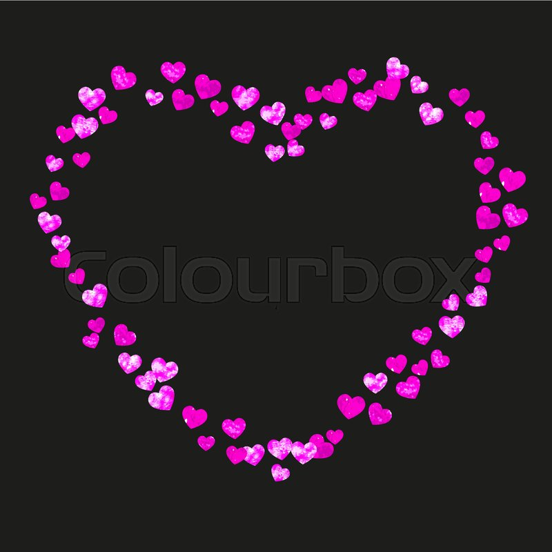 Mothers Day Background With Pink Glitter Confetti Isolated Heart