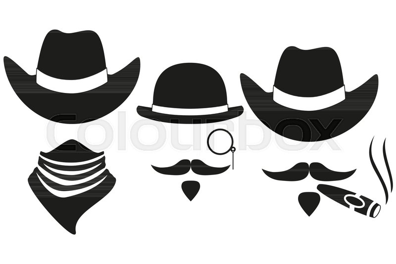Black and white 3 western cowboy silhouette avatars set. Wild west vector  illustration for gift card certificate sticker 85ee1eb8e9f8