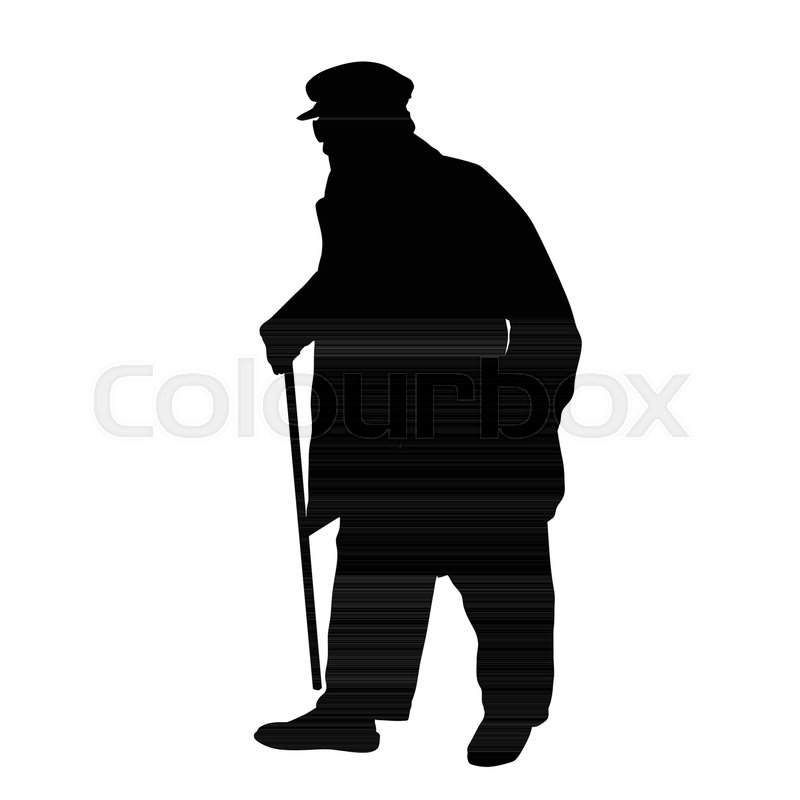 Old Man Silhouette On White Stock Vector Colourbox Body, person, people, men, male. old man silhouette on white stock