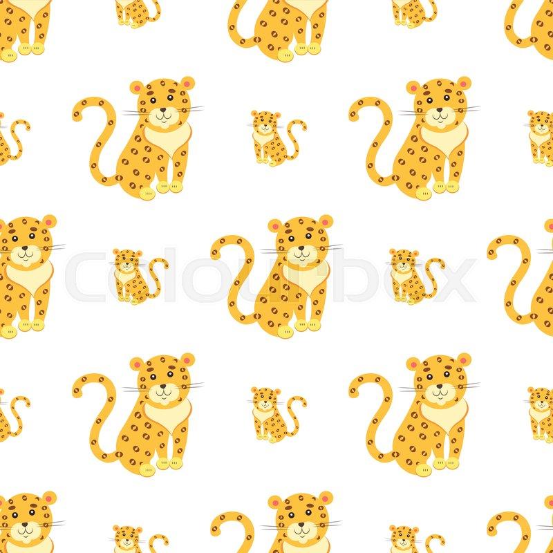 seamless pattern of cute funny jaguar or leopard vector flat cartoon