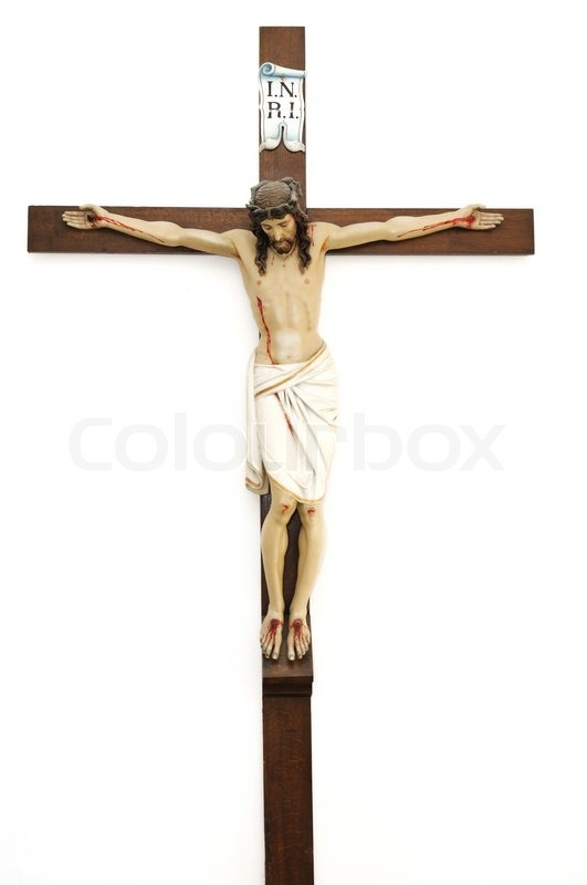 crucified jesus christ on wooden cross isolated stock photo