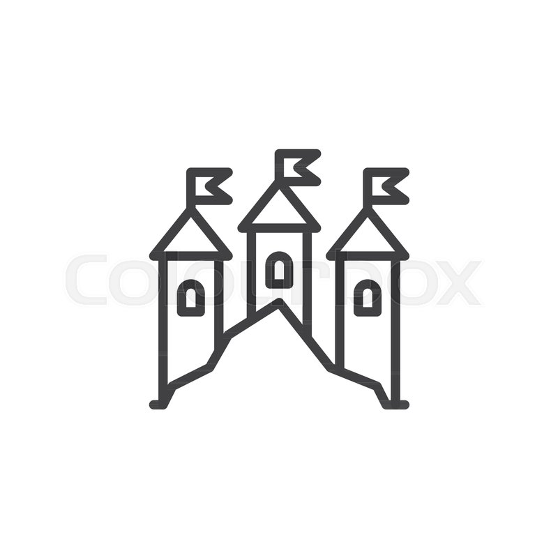 Kingdom Castle Outline Icon Linear Stock Vector Colourbox