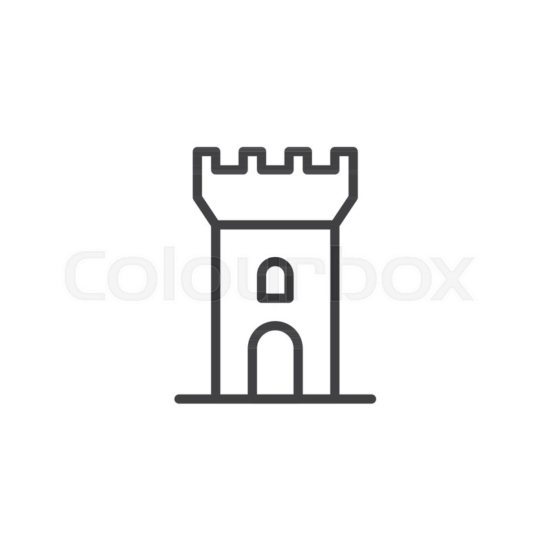 Castle Outline Icon Linear Style Sign Stock Vector Colourbox