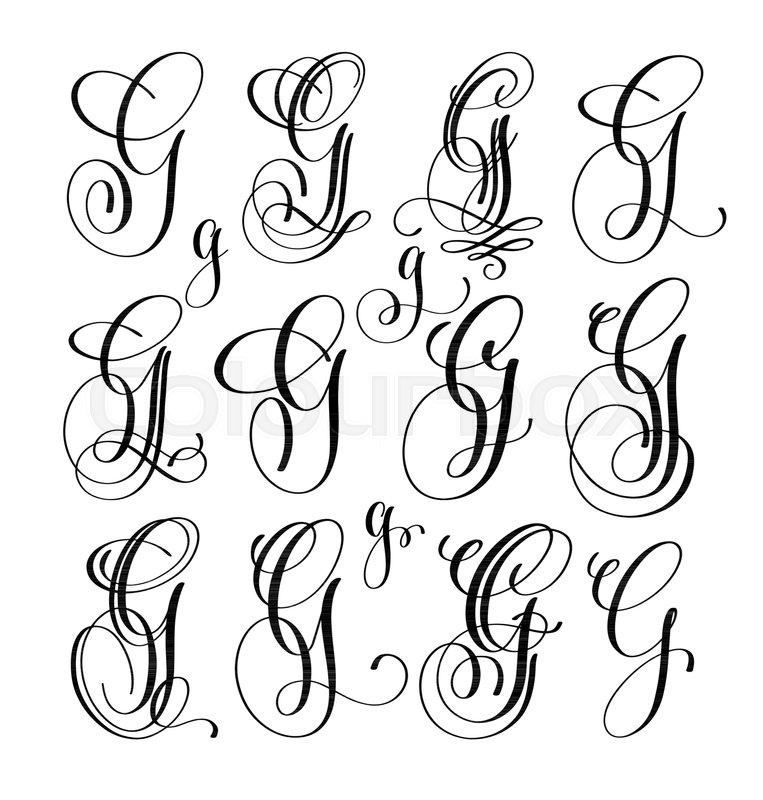 Calligraphy Lettering Script Font G Set Hand Written Signature Letter Design Vector Illustration