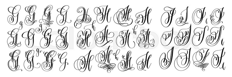 Calligraphy Letters Set G H And I Script Font Isolated On White Written With Ink Vector Illustration