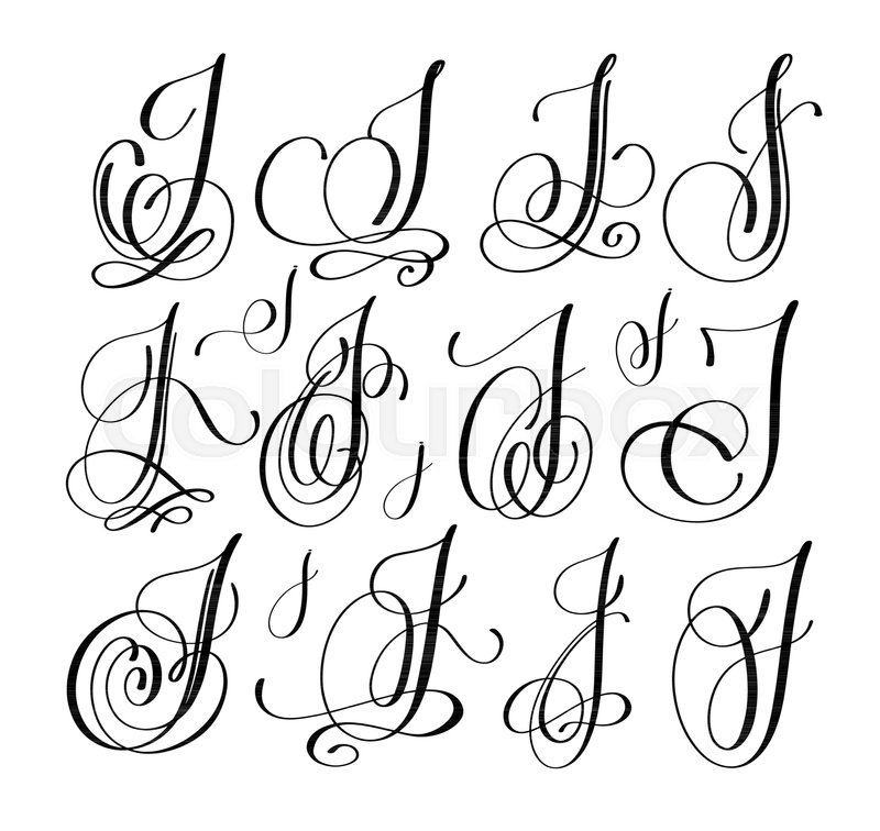 Calligraphy Lettering Script Font J Set Hand Written Signature Letter Design Vector Illustration