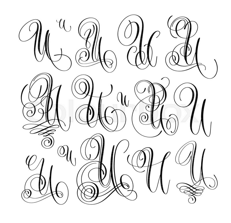 Calligraphy Lettering Script Font U Set Hand Written Signature Letter Design Vector Illustration