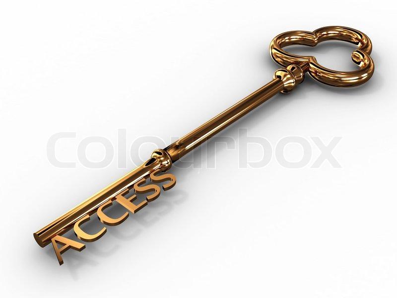 Gold access key on white background | Stock Photo | Colourbox