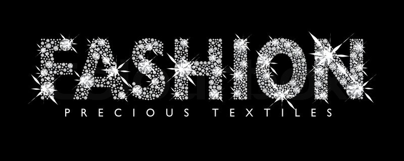 white diamond fashion text with black background stock