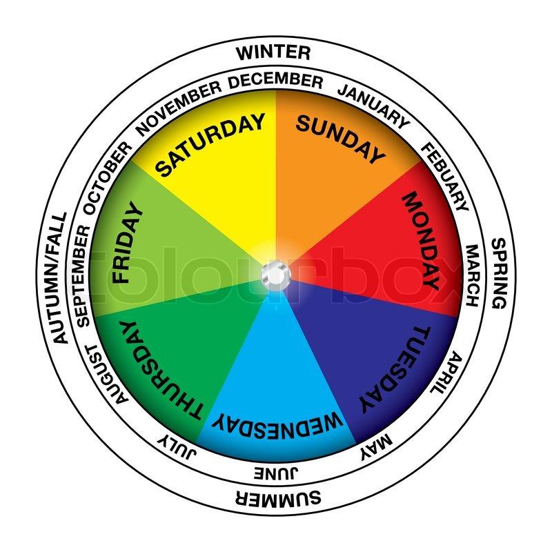 Farverige Kalender Hjul Ikon Med M 229 Neder Og 229 Rstider